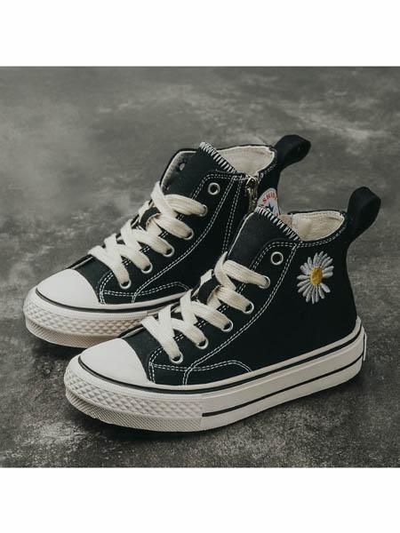 伢一巴童鞋品牌2020春夏女童小雏菊帆布鞋新款儿童高帮板鞋真皮童鞋