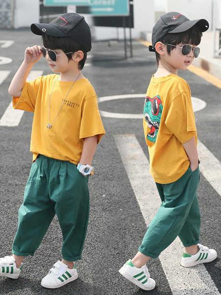 乐昂熊童装品牌2020春夏恐龙套装新款男童短袖T恤休闲裤套装宝宝纯棉洋气童装潮