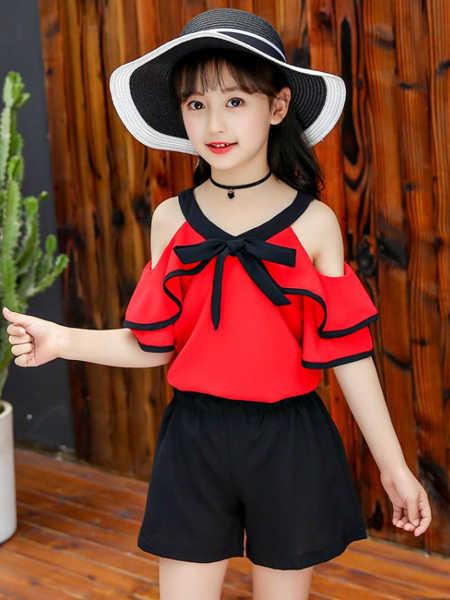 乐昂熊童装品牌2020春夏童装女童套装新款儿童夏季雪纺露肩中大童韩版夏款两件套