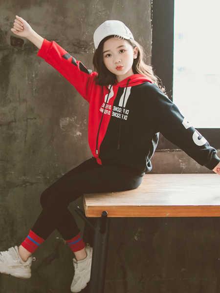 乐昂熊童装品牌2020春夏女童套装韩版新款童装中大童超洋气连帽卫衣牛仔裤两件套