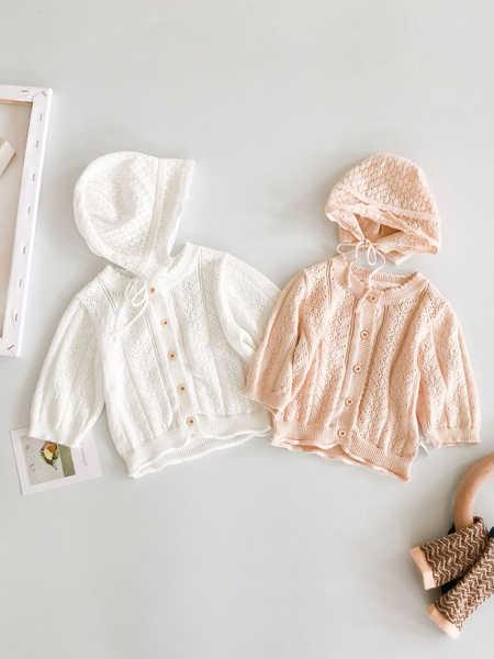 Engepapa童装品牌2020春夏新款甜美纯色开衫防晒空调衫七分袖针织镂空外套含帽子
