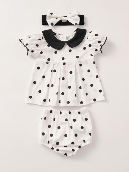 Engepapa童装品牌2020春夏ins婴儿圆点短袖百折上衣+面包裤+发带 女宝宝三件套装