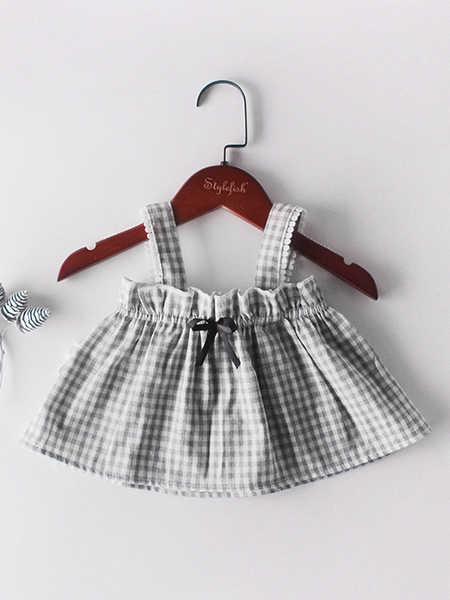 Engepapa童装品牌2020春夏ins婴儿扣子无袖吊带上衣+灯笼裤+发带 女宝宝三件套装