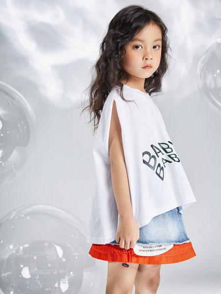宝贝传奇童装品牌2020春夏白色字母T恤