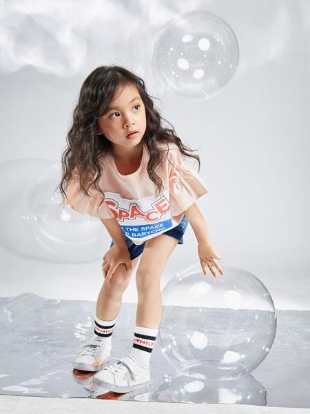 宝贝传奇童装品牌2020春夏粉色荷叶袖T恤