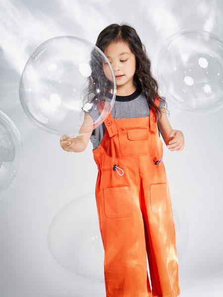 宝贝传奇童装品牌2020春夏吊带橙色背带裤