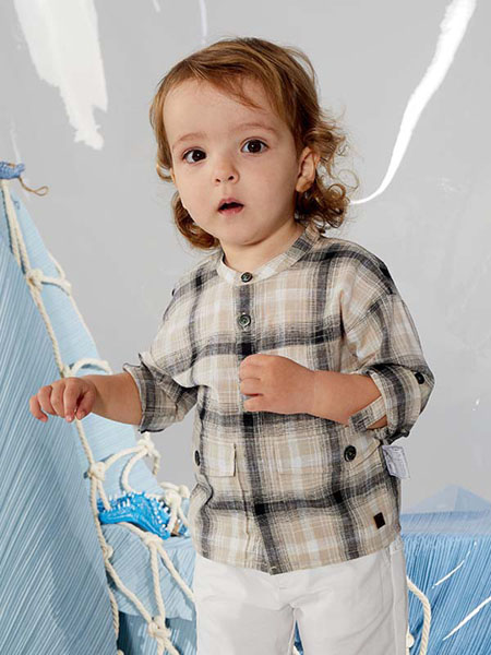 TARTINEETCHOCOLAT童装品牌2020春夏简约棉麻格子衬衫