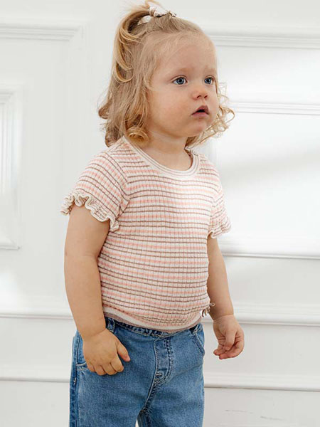 TARTINEETCHOCOLAT童装品牌2020春夏条纹针织衫短袖