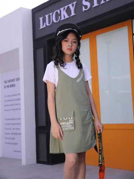 小嗨皮童装品牌2020春夏青色背带裙