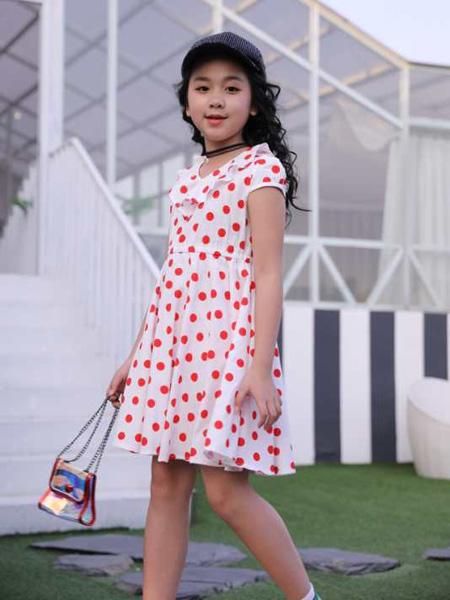 小嗨皮童装品牌2020春夏红色波点连衣裙