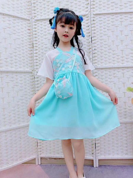 小嗨皮童装品牌2020春夏新蓝色连衣裙
