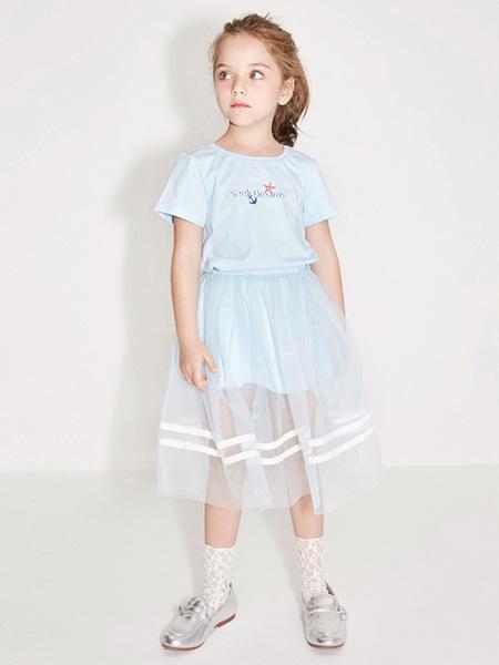 托馬斯和朋友,凯蒂猫,Eyookids惠代织童装品牌2020春夏浅蓝色网纱连衣裙
