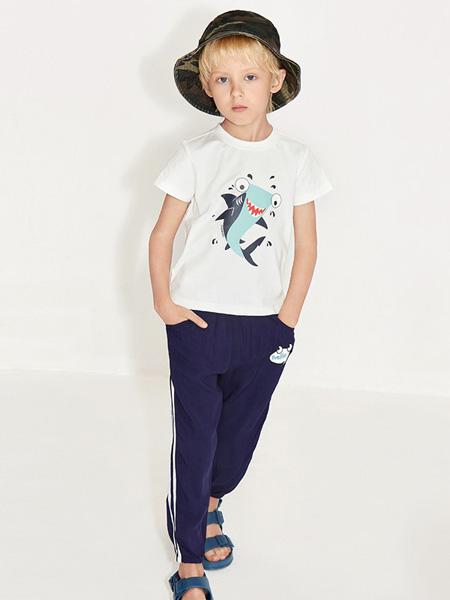 托馬斯和朋友,凯蒂猫,Eyookids惠代织童装品牌2020春夏白色圆领T恤深蓝色长裤