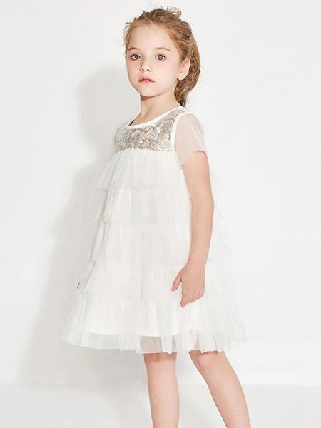 托馬斯和朋友,凯蒂猫,Eyookids惠代织童装品牌2020春夏白色网纱连衣裙