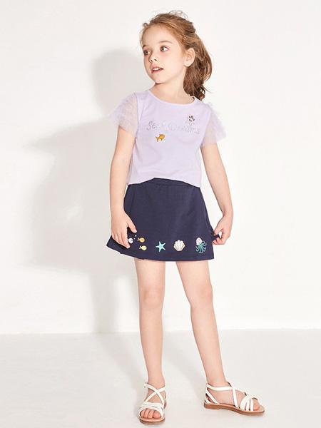 托馬斯和朋友,凯蒂猫,Eyookids惠代织童装品牌2020春夏紫色T恤深蓝色半裙