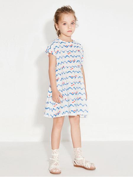 托馬斯和朋友,凯蒂猫,Eyookids惠代织童装品牌2020春夏圆领连衣裙波浪纹