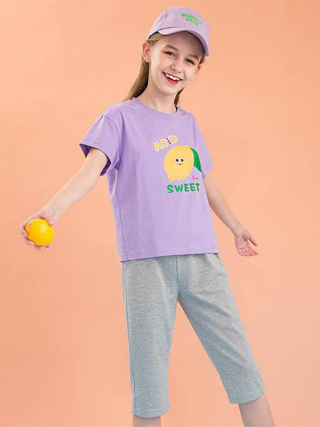 安娜与杰西童装品牌2020春夏纯棉圆领短袖休闲套装