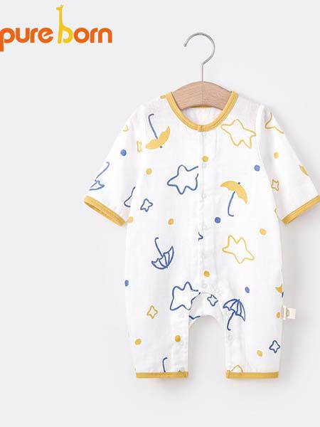 博睿恩童装品牌2020春夏新生儿宝宝纯棉连体衣