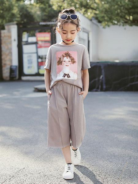 环翠童装品牌2020春夏女童童装套装闲女孩贴布两件套装