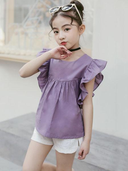 环翠童装品牌2020春夏套装新女童韩版荷叶袖短裤套装儿童休闲两件套