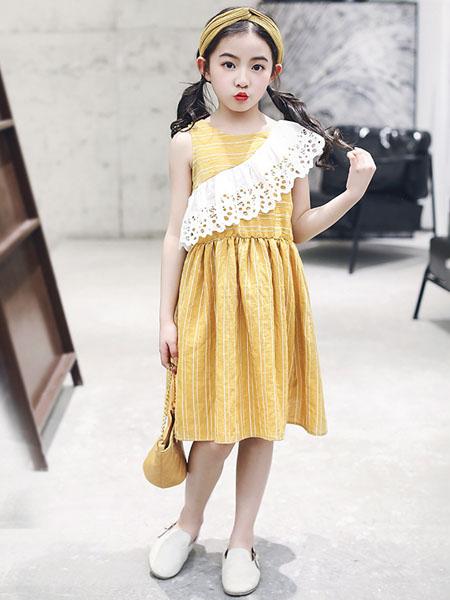 环翠童装品牌2020春夏童裙连衣裙新款中大女童韩版无袖韩版长款连衣裙