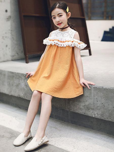 环翠童装品牌2020春夏新款女童中大童韩版露肩连衣裙小女孩童裙儿童裙