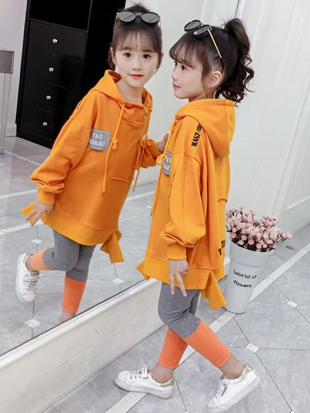 豆丁超人童装品牌2020秋冬连帽橙色长款卫衣