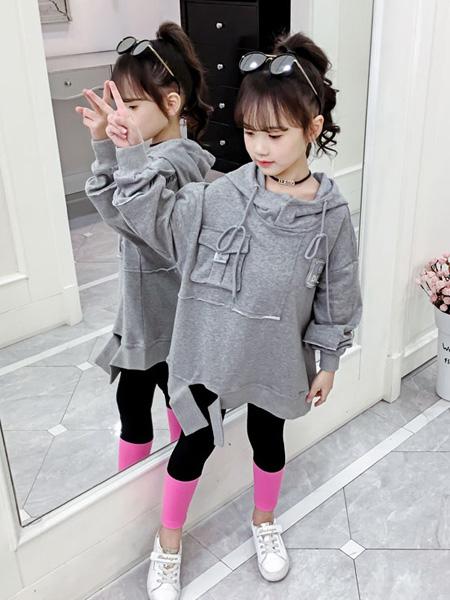 豆丁超人童装品牌2020秋冬灰色连帽卫衣