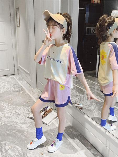 潮乐兮童装品牌2020春夏新款洋气儿童装女童夏装套装夏季休闲字母短袖运动两件套