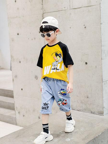 潮乐兮童装品牌2020春夏童装男童新款韩版夏款儿童两件套中大童夏装男孩牛仔套装