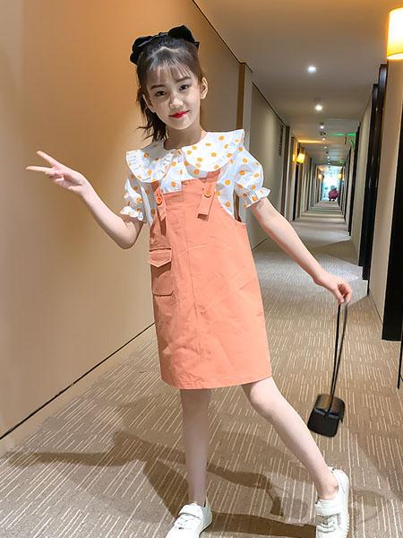 潮乐兮童装品牌2020春女童套装裙新款夏装洋气童装儿童圆点短袖背带裙子两件套
