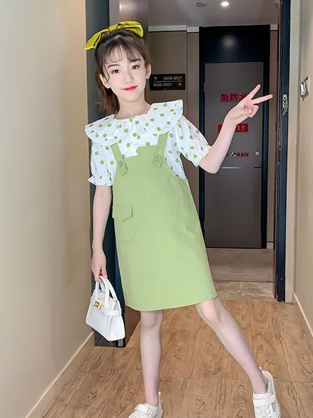 潮乐兮童装品牌2020春夏女童套装裙新款夏装洋气童装儿童圆点短袖背带裙子两件套