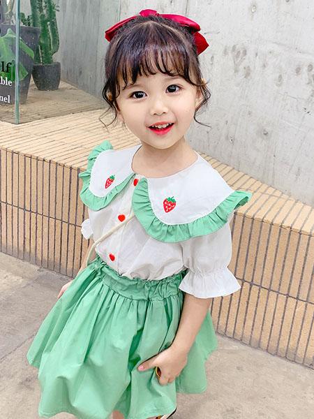 益佳童装品牌2020春夏新款网红套装 女童草莓绣花领子开衫短袖套装 送草莓背包