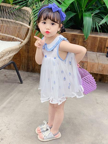 益佳童装品牌2020春夏女童吊带棉麻两件套新款中大童短裤儿童时尚学生女孩套装
