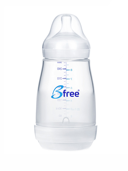 bfree婴童用品防胀气宽口径玻璃奶瓶配件 安全感温防漏导气160ml