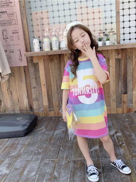 Tao cat Kids童装品牌2020春夏女新款短袖中长款t恤裙儿童装夏季韩版半袖宽松潮T洋气