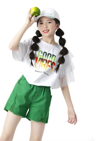 糖果布丁童装品牌2020春夏白色T恤绿色短裤