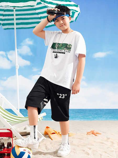 普哆衣童装品牌2020春夏新款男童棉宽松短袖T恤洋气上衣潮