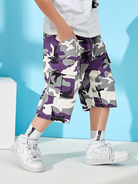 普哆衣童装品牌2020春夏加大加肥码休闲五分速干裤中学生夏天外穿潮流帅气反光
