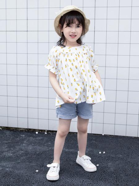 皇室童緣童裝品牌2020春夏碎菠蘿上衣白底