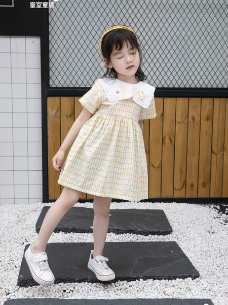皇室童緣童裝品牌2020春夏娃娃領淺黃色方格連衣裙