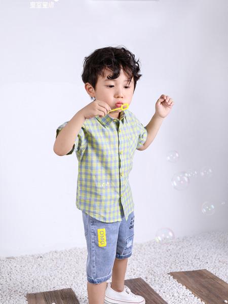 皇室童缘童装品牌2020春夏绿色格纹衬衫