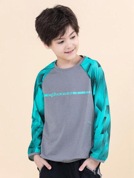 探路者童装童装品牌2020春夏户外男童弹力速干印花跑步卫衣