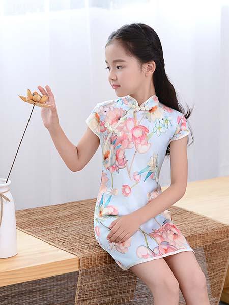 汇沽逸童装品牌2020春夏新款蕾丝旗袍演出服蕾丝花边旗袍儿童演出服