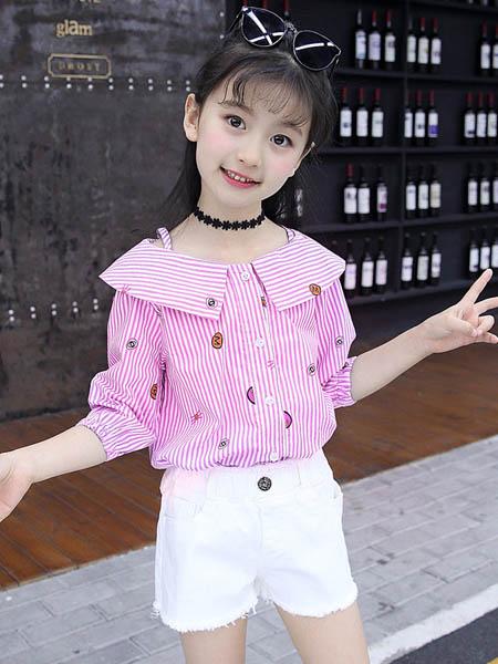 梦幻大道童装品牌2020春夏纯棉条纹娃娃衫短袖