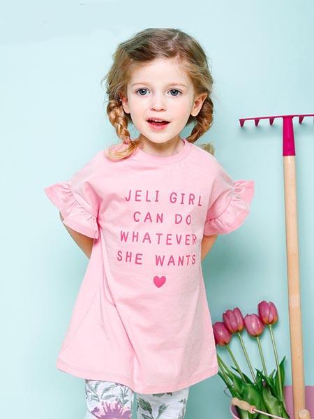 吉哩熊童装品牌2020春夏女童荷叶边短袖