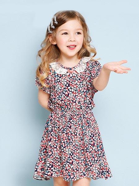 吉哩熊童装品牌2020春夏女童碎花清新连衣裙