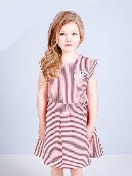 吉哩熊童装品牌2020春夏无袖条纹套装裙
