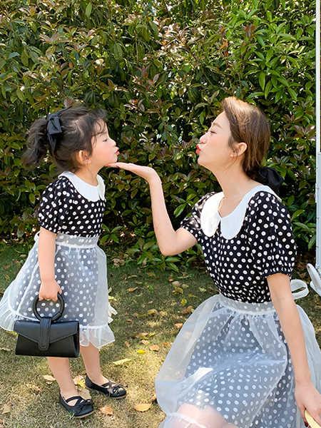 一起玩童装品牌2020春夏时尚波点母女装裙子