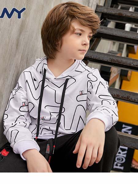 JINY童装品牌2020春夏潮牌男童卫衣新款印花时尚运动童装连帽长袖T恤